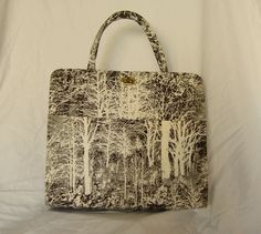 Margaret Smith Vintage Tote Bag - Moody Winter Birch Tree Forest Print