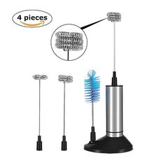 Buy Handheld Electric Milk Frother by LYlife,Battery Operated Foam Maker with 3 Pieces Steel Whisk Heads and Sturdy Stand Cleaning Brush,Perfect Frother for Latte Cappuccino Hot Chocolates Milk Frothers, Brush Cleaner, Battery Operated, Chocolates, Hot Chocolate, Latte, Electric, Cleaning, Steel