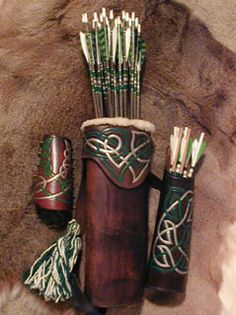 Susan's quivers for arrows and bolts, and her bracer Archery Quiver, Archery Gear, Archery Bows, Archery Equipment, Crossbow Hunting, Archery Hunting, Larp, Leather Quiver, Sca Armor