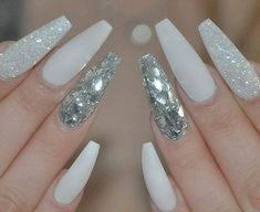50 romantic and stylish white nail designs and ideas for this fall - Nail Art Designs Fall Nail Art Designs, White Nail Designs, Diamond Nail Designs, Fall Designs, Long Acrylic Nails, Long Nails, White Acrylic Nails With Glitter, White And Silver Nails, Silver Sparkle Nails