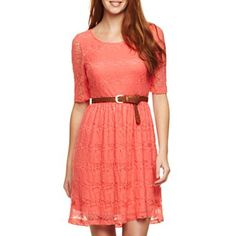 by 3/4-Sleeve Belted Lace Dress - jcpenney