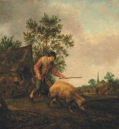 Isaac van Ostade - Boer met varken