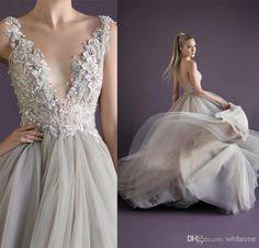 Wholesale Paolo Sebastian Dress - Buy Princess Sexy Beaded Deep V-neck Sleeveless Paolo Sebastian Prom Dress Tulle with Applique Floor Lengt...