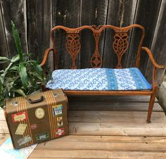 Neverbird Antiques. Gorgeous bench (upholstered your way) for sale.