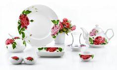 Falez Rose Garden 31 Parça Yuvarlak Porselen Kahvaltı Takımı FKS 1017