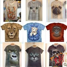 AAAwholesaler: : Buy New 2014 Spring Summer fashion animal print digital 3d Women t shirt anime 3D T shirt Men's clothing couple clothes tee...