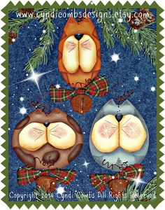 CC157 Jingle Kitties Ornaments - Painting E Pattern - pinned by pin4etsy.com