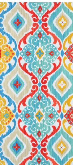 Richloom Outdoor Fresca Fiesta Fabric in vibrant colors including yellow, red and shades of turquois