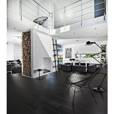"""""""A black or grey wood flooring makes a strong statement in an interior. And no matter what your style is – be it traditional or modern – the impression will be elegant,"""" says Anders, designer and architect with assignments all over the world. Staining Wood Floors, Grey Wood Floors, Solid Wood Flooring, Monochrome Interior, Black And White Interior, Luxury Flooring, What's Your Style, Home Fashion, New Homes"""