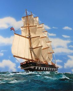 Sailing ship MArco Polo under full sail