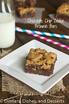 Chocolate Chip Cookie Brownie Bars #recipe