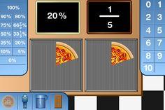 Un interattivo per visualizzare e confrontare percentuali e frazioni. Puoi scegliere se utilizzare la classica pizza, oppure una barretta di cioccolato. Se