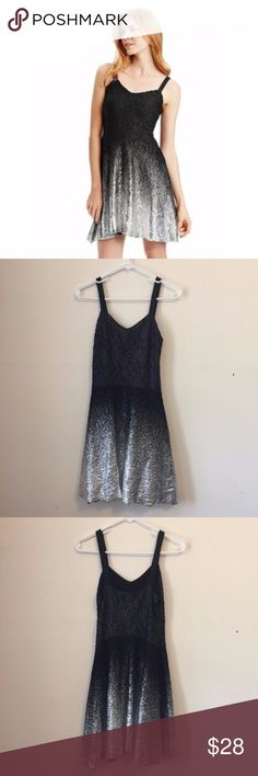 """Free People Foil Ombré Lace Dress Black & Silver S Free People Foil Ombré Lace Party Dress in Black & Silver. Sweetheart neck, sleeveless with adjustable tank straps. Hidden side zip closure. Lace overlay with foiled silver metallic ombre effect. Flare hem skirt. Shell: 59% polyester, 39% nylon, 2% spandex. Rayon lining. Great condition - no stains or holes.  Size Small. Approx. measurements: pit to pit ~14.5"""", waist ~13.5"""" across, and the straps are adjustable so I measured the pit to…"""