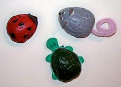 These are fun and easy to make! it just takes some empty nut shells, googly eyes glue and paints.