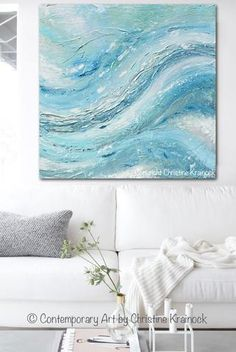 """""""Exuberance"""" Original Art Abstract Painting Soft Blue White Sea Foam Green Grey Textured Painting. Wonderful, lively movement & depth in a modern, expressionist style. Stunning, HIGHLY TEXTURED, modern, California, coastal, gallery fine art. Beautiful organic, abstract, seascape, landscape, contemporary, large, wall art, perfect for contemporary coastal style / urban farmhouse home decor. Modern palette knife painting w/ serene blue, teal, sea foam green, mint, light blue, grey, and white…"""