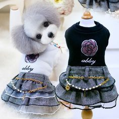 Pet Clothes Dress For Dogs Yorkshires Chihuahua Dog Clothes Woolen With Tulle Cat Skirt Autumn And Winter Teddy Puppy Clothing