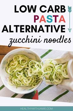 Learn to make quick, easy and delicious zucchini noodles, a great substitue for pasta when on a gluten free, low carb or keto diet. Sugar Free Diet, Gluten Free Diet, Low Carb Lunch, Low Carb Diet, Pasta Alternative, Zucchini Noodles, Vegan Zucchini, Low Carb Side Dishes, Diet Recipes