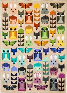 Fancy Forest quilt pattern is an animal sampler quilt featuring all your favorite pieced animal blocks by Elizabeth Hartman including Fancy Fox, Hazel Hedgehog and newcomer Frances Firefly. Quilting Projects, Quilting Designs, Sewing Projects, Quilt Design, Quilt Baby, Diy Quilt, Elizabeth Hartman Quilts, Stoff Design, Motifs Animal