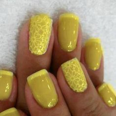 Pretty sure to get something like this you do the stamp with white first then paint a thin layer of yellow on top...