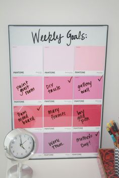 """Weekly goals """"To Do """" list...Frame at Walmart, paint swatches free, write on the glass, wipe off to change the goals!"""