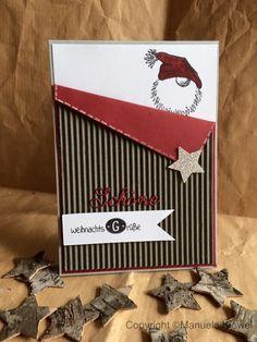 Heute hab ich mal ein anderes Weihnachtskärtchen für euch. Gesehen hab ich sie so ähnlich auf Pinterest und musste abkupfern. Verwendet h...