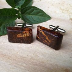 Cocobolo Wood Cuff Links  Handmade Wooden by ARemarkYouMade, $16.95