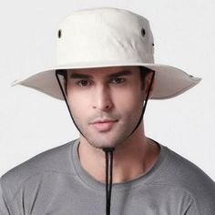 63d570b07cf UV protection fishing hat with string for men plain summer sun bucket hats