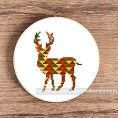 PDF counted cross stitch pattern - Instant download - Deer - Geometric - Woodland