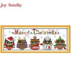 Noel Baykuşlar desenler Sayılan Çapraz Dikiş Karikatür Çapraz Dikiş 11CT 14CT Çapraz Dikiş Kiti El Yapımı Nakış Iğne için