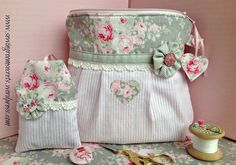 Shabby chic cosmetic pouch
