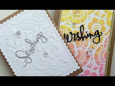Lace stencil texturpaste embossig technique   cardmaking - YouTube
