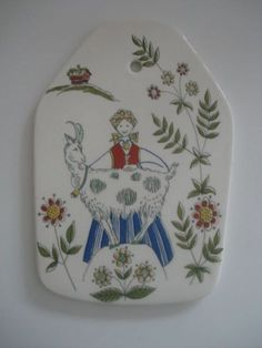 TURI DESIGN NORWAY FIGGJO FLINT HANDPAINTED SILK SCREEN DECORATIVE TILE PLAQUE