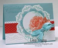9/29/2012; Lisa Young at 'Add Ink and Stamp' blog; Stamps: Daydream Medallions, Stippled Blossom, Bring On the Cake + Floral Frames Framelit; Ink: Pool Party, Calypso Coral