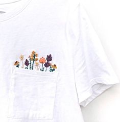 This embroidered shirt is restocked in size small. Only 1 available! If you want it, hurry fast and grab it! (Link in bio) This embroidered shirt is restocked in size small. Only 1 available! If you want it, hurry fast and grab it! (Link in bio) Embroidery On Clothes, Embroidered Clothes, Diy Embroidery, Cross Stitch Embroidery, Embroidery Patterns, Embroidery On Tshirt, Diy Embroidered Tshirt, Pearl Embroidery, Embroidery Tattoo
