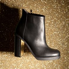 schuh Flash gold heel black ankle boots