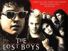 The Lost Boys is a classic comedy horror movie about vampires who have taken over a small town. The movie stars Jason Patric, Corey Haim, Corey Feldman Lost Boys Soundtrack, Lost Boys Movie, The Lost Boys 1987, Love Movie, Badass Movie, Jason Patric, Film Movie, 80s Movies, Scary Movies