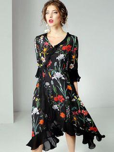 V-neck Half Sleeve Waist Irregular Big Hem Dress Long Sleeve Maxi, Maxi Dress With Sleeves, Half Sleeves, Dress Outfits, Skater Outfits, Women's Dresses, Chic Dress, Asymmetrical Dress, Skater Dress