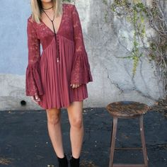 Free People Lace Bell Sleeve Dress Size: M. Color: Dusty rose. Free People Dresses