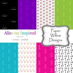 Alice 02 Inspired-(08)-12x12 Digital Paper-Instant Download-Alice in Wonderland-Cheshire Cat-Queen Of Hearts-Harlequin-Keys by PaperWillowDesigns on Etsy