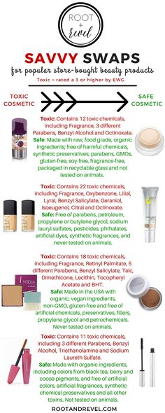 Savvy Swaps: Toss toxic beauty products for safer, natural cosmetics without any of the negative additives. | rootandrevel.com