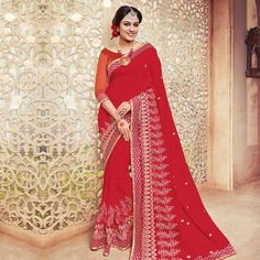 Buy Red Embroidered Work Georgette Saree for womens online India, Best Prices, Reviews - Peachmode