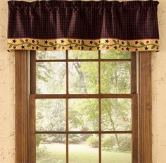 """Stars & Berries Lined Curtain Valance 58"""" x 14"""""""