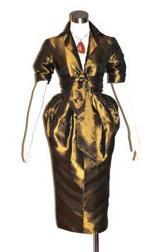 Vintage ROMEO GIGLI Dress Metallic Wrap Balloon by StatedStyle, $475.00