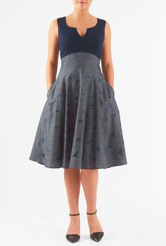 I this Bird embellished empire mixed media dress from eShakti Pretty Outfits, Pretty Dresses, Pretty Clothes, Dress Outfits, Fashion Outfits, Womens Fashion, Bird Clothing, Sunday Clothes, Chambray Skirt