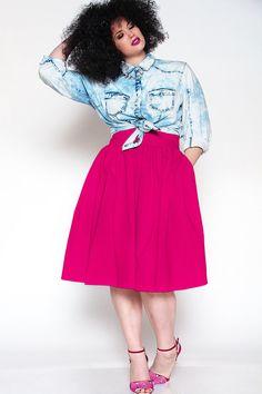 JIBRI Plus Size High Waist Flare Skirt by jibrionline on Etsy, $110.00