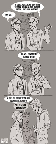 I don't ship them but this is awesome I love the fact they're going to see the Avengers and I love Gabriel's shirt haha