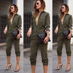 Пикантные Новинки для женщин модные тонкие Bodycon комбинезон с длинным рукавом Армейский зеленый Однотонная повседневная обувь боди Дамы Винтаж Ползунки длинные комбинезон