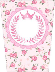 Bisnaga Flip Top Coroa de Princesa Rosa Floral
