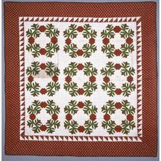 """Applique Quilt: """"President's Wreath"""" pattern with """"Sawtooth"""" inner border, c. 1860, Geographic location: probably Pennsylvania, United States, Cotton, Dallas Museum of Art, The Faith P. and Charles L. Bybee Collection, gift of Faith P. Bybee"""
