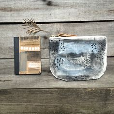 Hand painted & hand sewn this womens wallet is perfect to use as a clutch or a wallet. It features one of my abstract paintings in blue & grey colors.